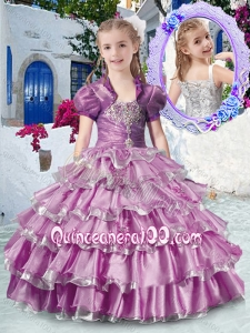 Romantic Straps Little Girl Pageant Dresses with Ruffled Layers and Appliques