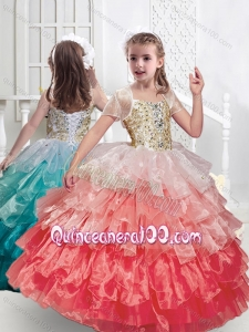 Beautiful Spaghetti Straps Mini Quinceanera Dresses with Ruffled Layers and Beading