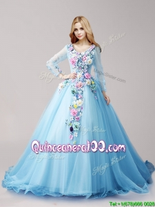 Wonderful V Neck Long Sleeves Hand Made Flowers Quinceanera Dresses with Brush Train