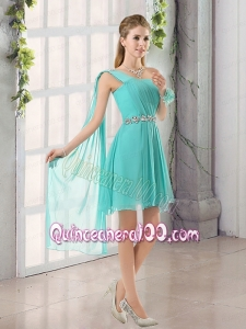 One Shoulder A Line Beading and Ruching Dama Dress with Lace Up