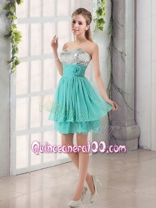 Sweetheart A Line Dama Dresses with Sequins and Handle Made Flowers