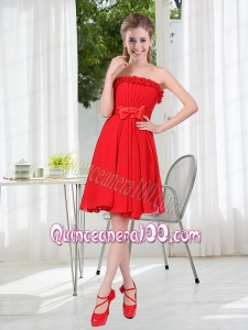 Wonderful Ruching Strapless Bowknot Dama Dresses in Red