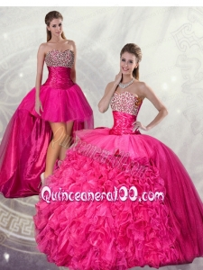 Wonderful Ball Gown Hot Pink Quinceanera Dresses with Beading and Ruffles