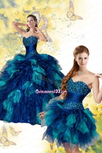 Exqusite Multi-color Quinceanera Dress with Beading and Ruffles