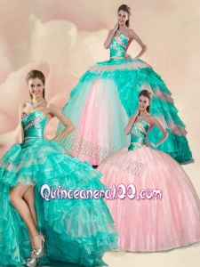 New Style Beading and Ruffles Multi color Quinceanera Dress