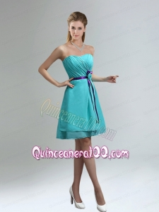 Classical Sweetheart Dama Dresses with Ruches
