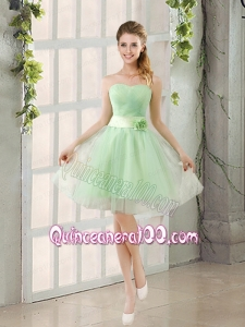 2015 A Line Sweetheart Lace Up Dama Dress in Apple Green