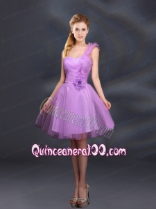 2015 Lilac Hand Made Flowers A Line One Shoulder Dama Dresses