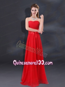 2015 Ruching Empire Dama Dresses with Belt