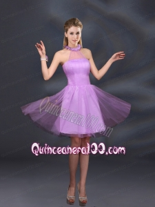Beautiful Lilac A Line Appliques Dama Dresses with Halter