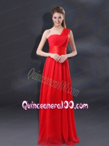 One Shoulder Ruching Empire Dama Dresses for 2015