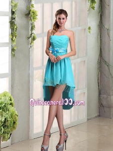 2015 Decent Sweetheart A Line Dama Dress with Ruching and Belt