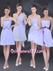 2015 Elegant Chiffon Lace Up Dama Dress in Lavender