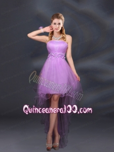 Appliques and Ruffles A Line Strapless Dama Dresses