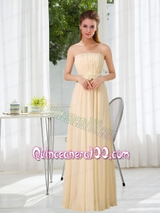 Empire Strapless Ruching and Belt Dama Dress with Floor Length
