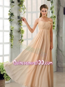Empire V Neck Ruching Chiffon Dama Dresses with Cap Sleeves