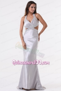 Brush Train Silver Column Halter Top Mother of the Dress with Beading