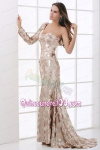 Champagne One Shoulder Lace Long Sleeve Mother of the Dress with Sequins