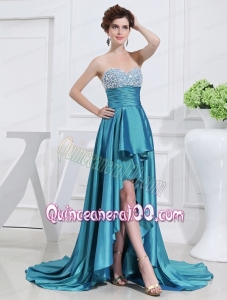 Sweetheart High-low Beading and Applique Taffeta Teal Mother of the Dress