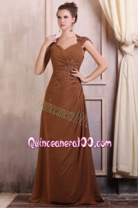 V-neck Column Chiffon Appliques with Beading Mother of the Dress in Brown