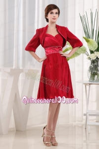 A-line Sweetheart Wine Red Mother of the Dress Chiffon Ruching