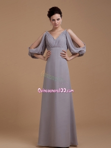 Grey Mother of the Dress With V Neck 3/4 Length Sleeves Floo Length