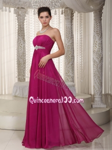 Popular Empire Strapless Floor Length Chiffon Beading Mother of the Dress Beading Straples Fuchsia Long Chiffon Mother of the Dress