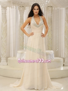 Halter Top With Beaded Ruched Bodice For Beautiful Mother of the Dress Customize