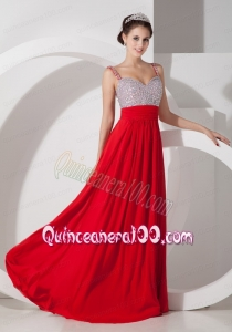 Pretty Red Empire Straps Mother of the Dress Chiffon Beading and Ruching Floor Length