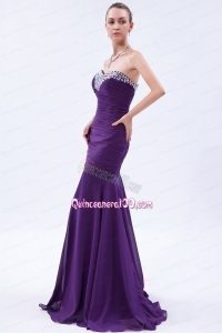 Purple Trumpet Sweetheart Beading and Ruching Mother of the Dress Brush Train Chiffon