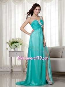 Turquoise Empire One Shoulder Brush Train Silk Like Satin and Chiffon Appliques Mother of the Dress