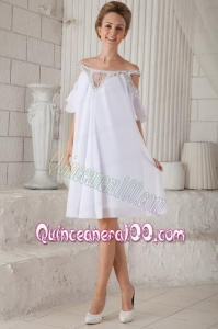 White Empire Off The Shoulder Knee Length Chiffon Beading Mother of the Dress