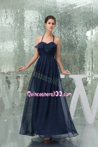 Column Navy Blue Ankle Length Halter Top Ruching Mother of the Dress