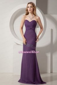 Dark Purple Column Sweetheart Brush Train Chiffon Ruching Mother of the Dress
