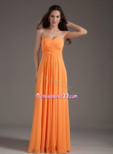 Orange Sweetheart Ruching Empire Long Mother of the Dress
