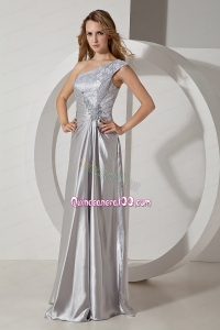 Silver Column One Shoulder Beading Mother of the Dress Floor Length Taffeta