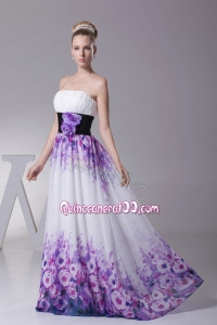 Strapless Colorful Pringting Mother of the Dress with Handle Flower Sash