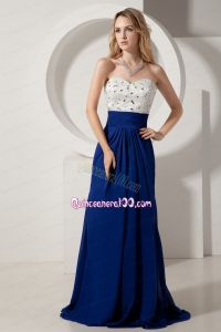 White and Royal Blue Mother of the Dress Column Sweetheart Beading Brush Train Chiffon
