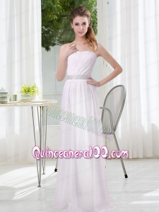 2015 Simple Empire Ruching Dama Dresses in White