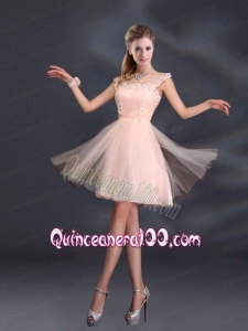 A Line Tulle 2015 Sturning Dama Dresses with Straps