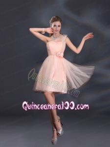 One Shoulder A Line Tulle Dama Dresses with Hand Made Flowers