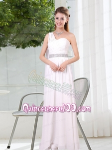 One Shoulder Empire Ruching Sequins White Dama Dresses