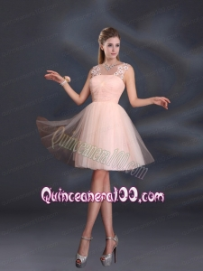Straps Appliques Dama Dresses in Baby Pink