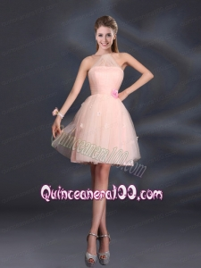 Tulle Appliques Mini Length 2015 Dama Dresses with Halter