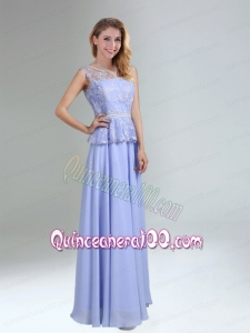 Lavender Belt and Lace Empire 2015 Bridesmaid Dress with Bateau