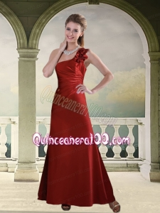Ruching One Shoulder Wine Red Dama Dresses with Hand Made Flowers