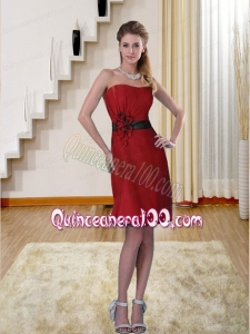 Ruching Sweetheart Column 2015 Wine Red Bridesmaid Dress with Appliques