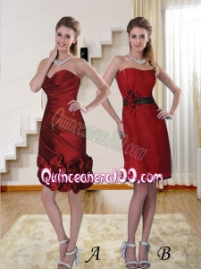 Sweetheart Ruching Column Dama Dresses for 2015