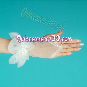 Tulle Fingerless Wrist Length Bridal Gloves With Hand Made Flower
