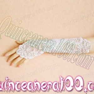 Lace Fingerless Elbow Length Bridal Gloves With Appliques